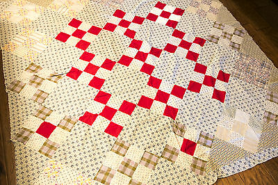 Vintage unfinished quilt top 30's fabric red and blue