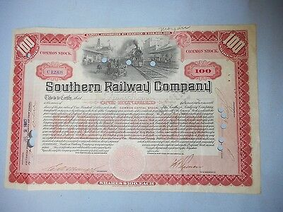 1917 Southern Railway Company Railroad Stock Certificate Now Norfolk Southern