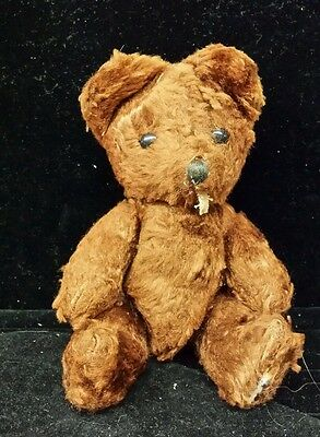 "Antique Vintage Mohair Jointed Teddy Bear. Glass eyes. 7"" very cute little guy!"