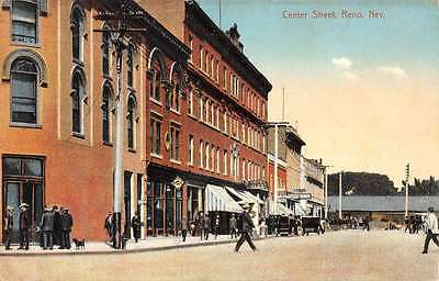 Reno Nevada Center Street Scene Historic Bldgs Antique Postcard K66792