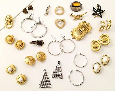 Vintage Jewelry Lot 60s - 80s Costume Jewelry Earrings & Brooches