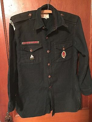 Vintage 1940s 50s Boy Scouts Canada Scouts Wool Uniform Shirt w Patches