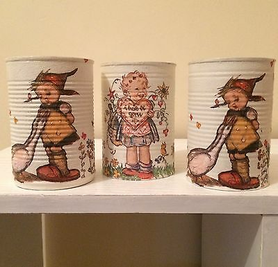 Vintage Shabby Chic Decoupaged Storage Tins Home Decor Up Cycled