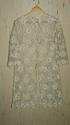 "Vintage Embroidered Handmade Floral ""Lace"" Open Coat Jacket"