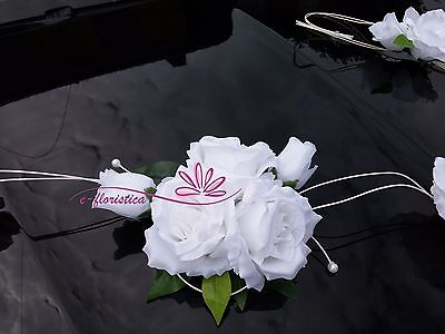 pure white roses with rattan twirl, flower wedding car decoration kit (RB9)