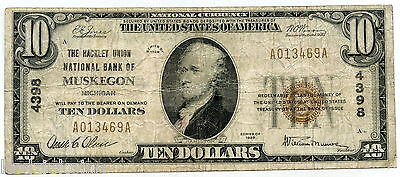 1929 $10 National Currency Bank Note - 4398 Hackley Union of Muskegon - KT661