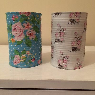 Vintage Rose Shabby Chic Decoupaged Storage Tins Home Decor Up Cycled