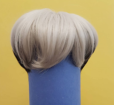 bjd wig 9-10 inch silver and black