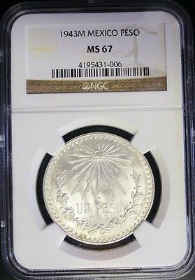 1943M Ngc Ms 67 Mexico Silver Peso! Rare And Magnificent!