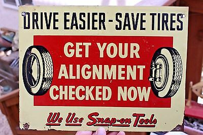 Snap-On Tools Sign Tin / Metal Snap On Wheel Alignment Service Vintage Garage