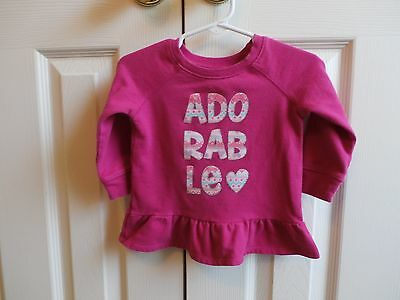 "CHILDRENS PLACE ""ADORABLE"" Pink Long Sleeve Ruffle Bottom Top Size 12-18 Months"