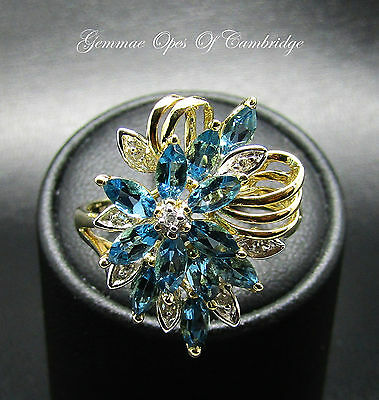 9ct Gold Blue Topaz and Diamond Cluster Cocktail Ring Size T 4.5g
