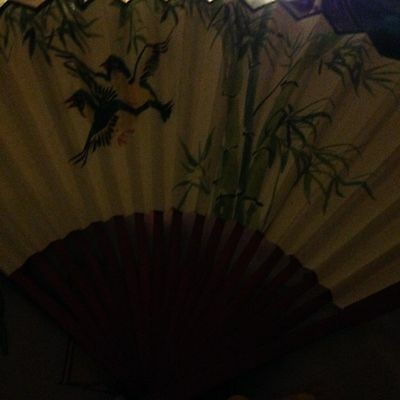 Vintage Hand Held Fan Folding Wooden and Paper