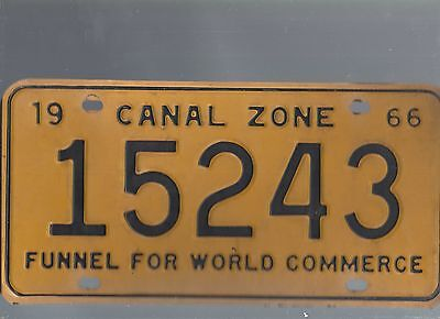 Vintage 1966 CANAL ZONE  CAR  license plate 15243