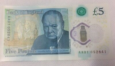 AA01 Low Serial Number Five Pound Banknote