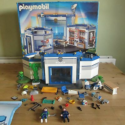 playmobil police station with motor bike and figures and Accessories