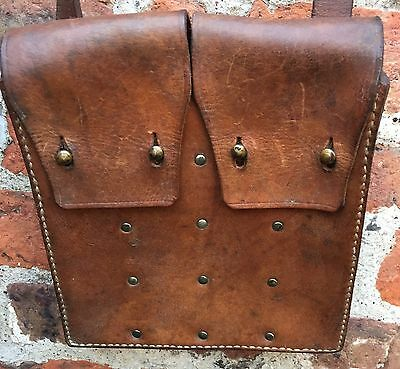Vintage Swedish Army M45 Carl Gustav SMG Leather Magazine Ammo Pouch Bag Carrier