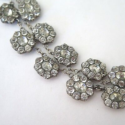 Antique Georgian Early Victorian Rose Cut Paste Cluster Sterling Silver Necklace