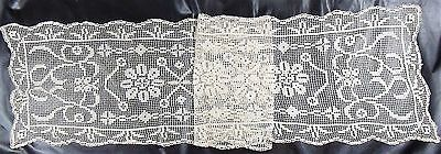 "[KM16] Lovely Antique Crocheted Table Runner 16""x68"