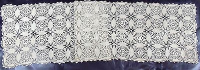 "[KM12] Lovely Antique Crocheted Table Runner 16""x64"""