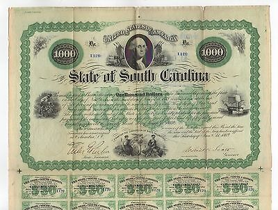 1869 $1000 The State of SOUTH CAROLINA Bond - Signed by Robert Kingston Scott