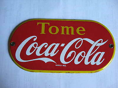 VINTAGE ORIGINAL 1940's COCA COLA COKE PORCELAIN (enamel) BUTTON SIGN VERY RARE