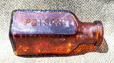 Antique Vintage Brown Amber Glass Poison Bottle Triangle Shape Apothecary Vg Htf