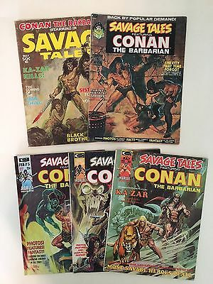 Savage Tales of Conan the Barbarian #1, 2, 3, 4, 5 Set Lot Barry Smith Man-Thing
