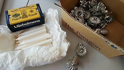 Lot of 30 vintage Christmas Tree Pine Cone Candle Holder Clips Tin and candles