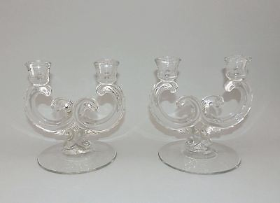 2 Fostoria Pressed Glass Century Double Light Candle Stick Holders Candlesticks