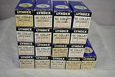 """New Old Stock Set of  Lyndex 5C Collets 1/16"""" - 1 1/16"""" Japan"""