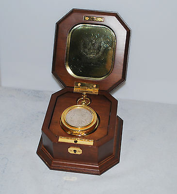 Franklin Mint Morgan Silver Dollar Pocket Watch with Case and Fob