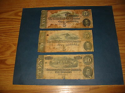 1864 $10 & $5 Confederate Note Lot of 3---Affordable 100% Original