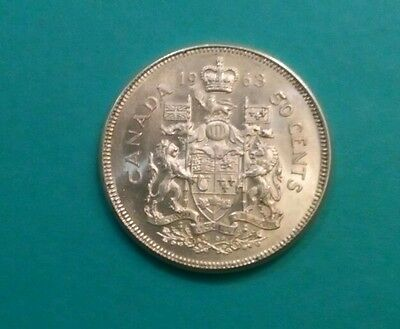 The  Canada   Silver   Fifty Cents  1963 Coin .