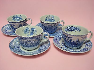 4 SPODE Blue Room Collections Georgian Series Cup & Saucer Sets. England.