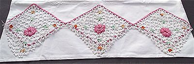 Pr White Cotton Pillowcases Hand Embroidered Pink White 3-D Flower Edging