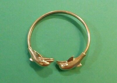 The  Vintage Bangle 0.925 Sterling Silver Dolphins Bracelet  18 Gr.