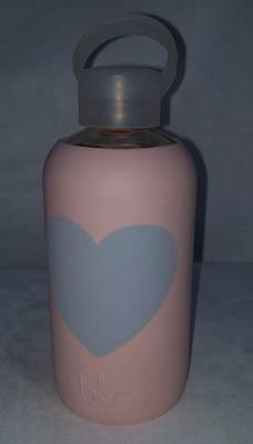 GC BKR Glass Water Bottle With Heart Themed Silicone Sleeve 16 Oz Capacity EUC