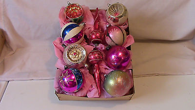 10 Vintage Christmas Painted & Mica Christmas Ornaments Germany & Poland