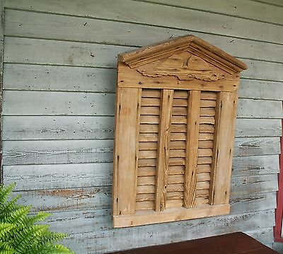 1840 Barn Window Vent with Eagle Louvered Gable Pediment Original Surface Patina