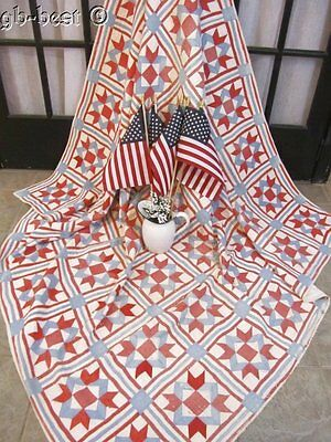 Stars Stripes! c 1900 Red White Blue Antique QUILT the Patriot Collection