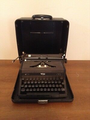 Vintage Royal Quiet Deluxe Portable Typewriter Black With Glass Keys & Case