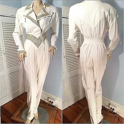 VTG 1980s WHITE & FAUX GOLD STUDDED JUMPSUIT BY IIF ZIP POCKETS DYNASTY LOOK S/M