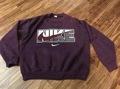 Vintage 90S Ladies Plum Purple Nike Sweatshirt Size Large Spell Out Logo