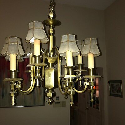 Antique bronze 8 light chandelier circa 1920