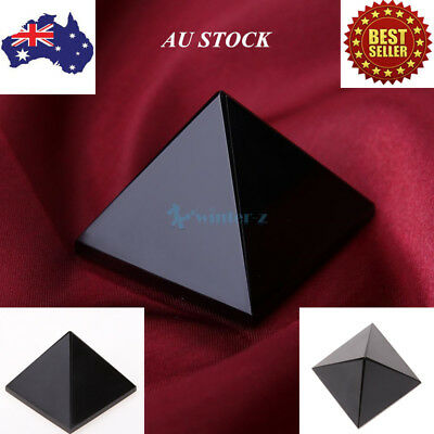Natural Obsidian Quartz Pyramid Crystal Stone Healing Home Decor Ornament 50-60g