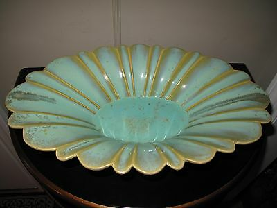 FULPER POTTERY FOOTED CONSOLE BOWL Fluted Rim Centerpiece Aqua Green Crystalline