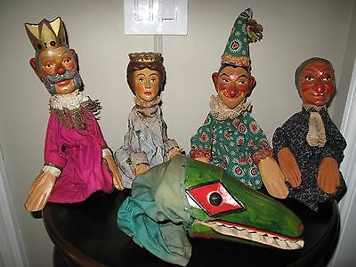 Lot ANTIQUE GERMAN HAND-CARVED PUNCH & JUDY WOOD GLOVE PUPPETS Polychrome Paint