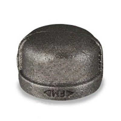 """1"""" Inch Cap Black Malleable Iron Pipe Fittings Threaded Plumbing - P6655"""