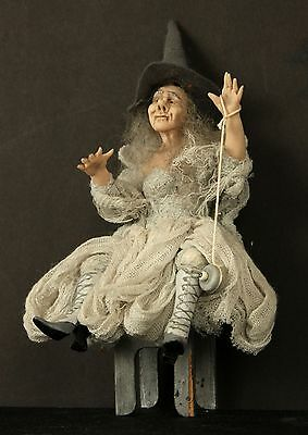 Grey Halloween Witch Sitting on a Table Eyeball YOYO Hand Sculpted OOAK